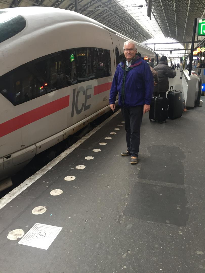 Richard Snelgrove owner of Snelgrove Travel awaits a train in Amsterdam