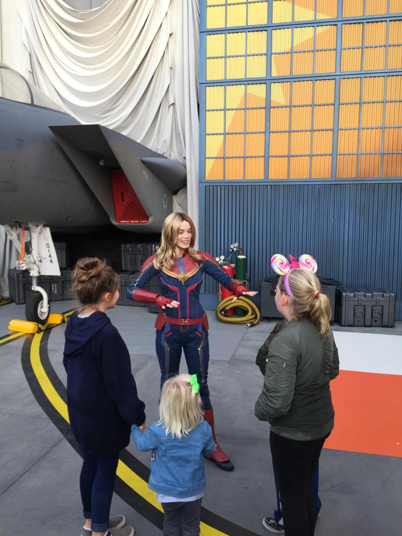 Captain Marvel at Disneyland with Snelgrove Travel employee's kids