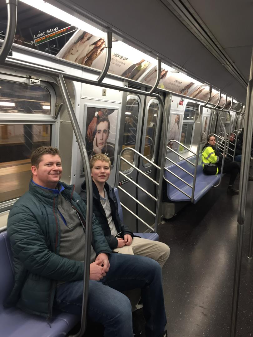 Utah's favorite travel agent, Cameron from  Snelgrove Travel Center Layton Utah, checking out New York subway