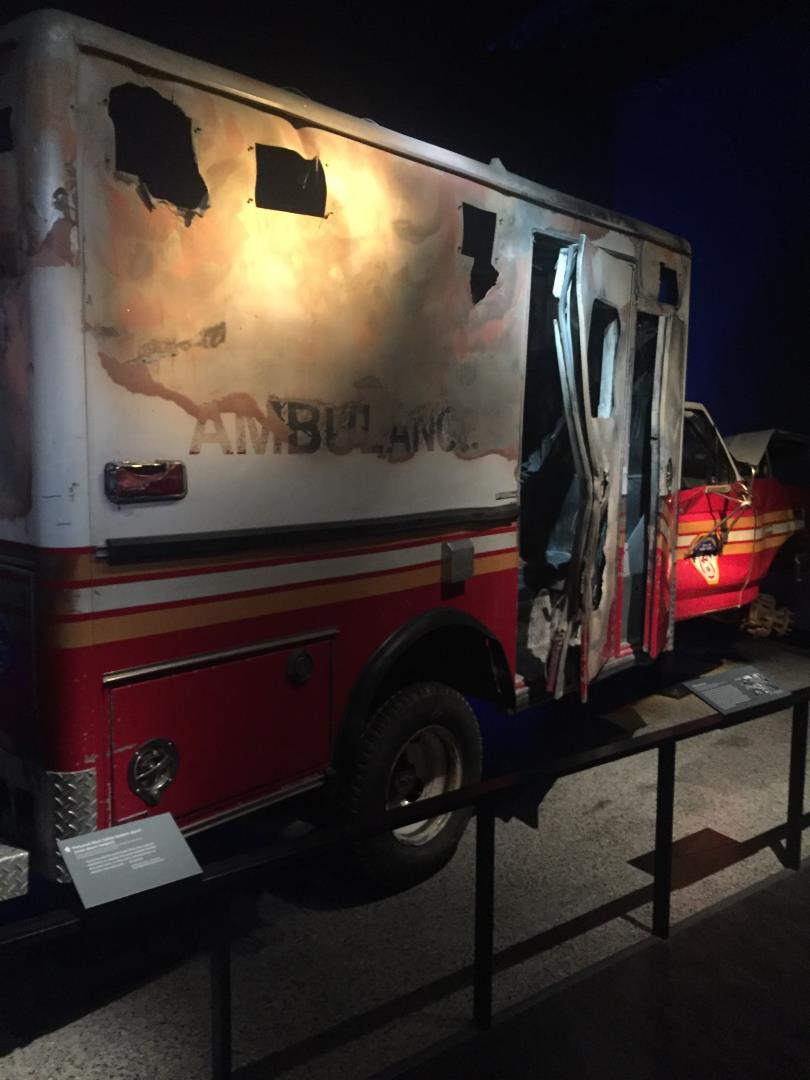 Wrecked ambulance at 9/11 Memorial as seen by Snelgrove Travel agents
